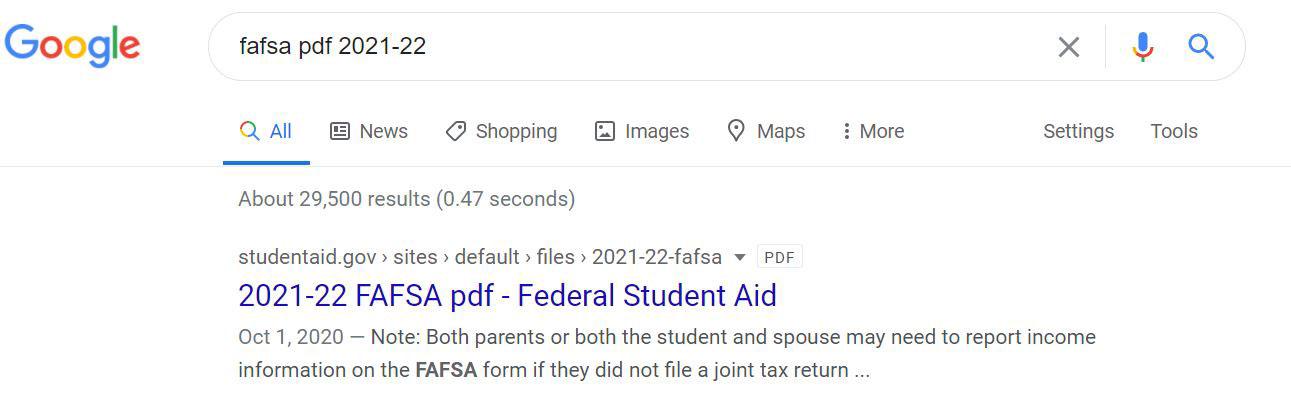 FAFSA Google Search